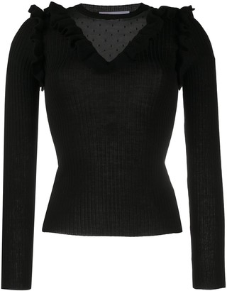 RED Valentino Point D'esprit Ribbed-Knit Jumper