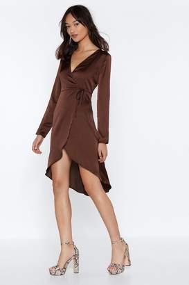 Nasty Gal Womens Balls Satin Your Court Wrap Dress - Brown - 8, Brown