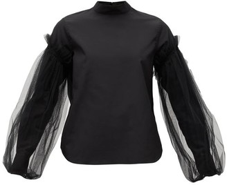 Noir Kei Ninomiya Tulle-sleeve Cotton-poplin Shirt - Womens - Black
