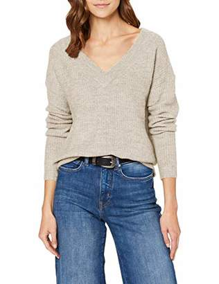 Only Women's Onlmirna L/s V-Neck Pullover KNT Jumper, Brown Indian Tan, 10 (Size: Small)