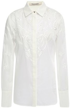 Roberto Cavalli Lattice-trimmed Embroidered Woven Cotton Shirt