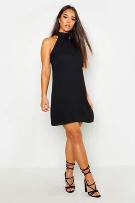 boohoo Woven Pussy Bow Tie Back Shift Dress