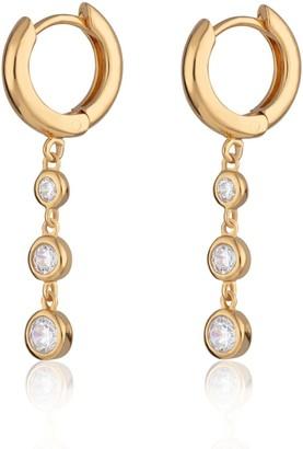 Scream Pretty Gold Huggie Earrings With Triple Drop Sparkle