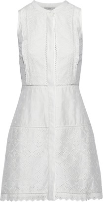 Joie Zakari Broderie Anglaise Cotton And Silk-blend Mini Dress