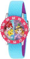 Disney Girl's 'Rapunzel' Quartz Stainless Steel and Nylon Casual Watch, Color:Blue (Model: WDS000055)