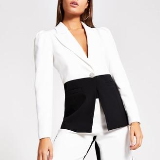 River Island Womens White monochrome puff sleeve blazer