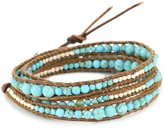 Chan Luu Turquoise And Silver Beads On Leather Bracelet