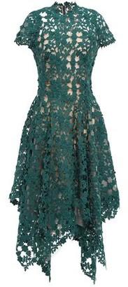 Oscar de la Renta Asymmetric Flared Guipure Lace Midi Dress