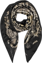Roberto Cavalli Natural Black Pattern and Leopard Print Silk Square Scarf