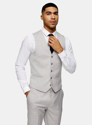 Topman Grey Slim Fit Suit Waistcoat