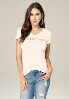 Bebe Beaded Logo V-Neck Tee