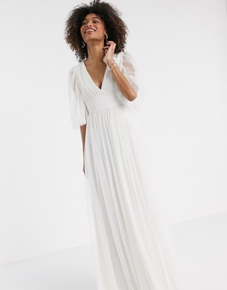 Anaya With Love tulle plunge front tulle maxi dress with cape detail in white