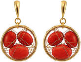 Gottex Beauty Wire 18K Plated Coral Drop Earrings