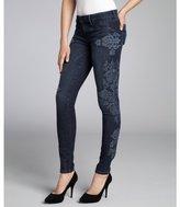 Sold Denim indigo embroidered stretch denim 'Soho Super Skinny' embroidered jeans