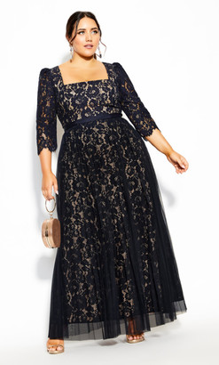City Chic Pleated Lace Maxi Dress - navy