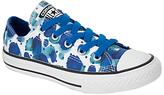 Converse Children's Low Top Floral Petal Shoes, White/Blue