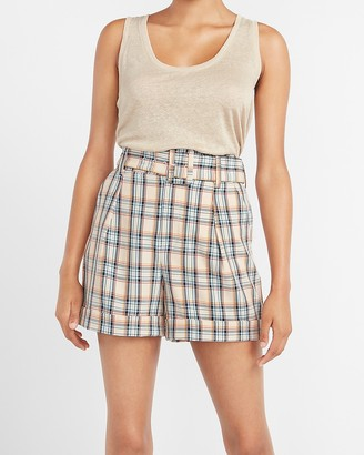 Express Ladygang High Waisted Plaid Belted Shorts