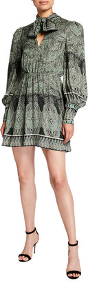 Alice + Olivia Tanisha Bishop-Sleeve Tie-Neck Dress