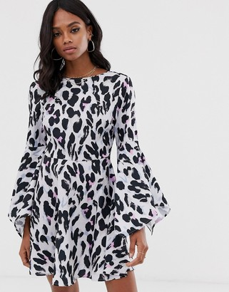 UNIQUE21 neon leopard flared sleeve skater dress-Multi