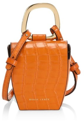 Danse Lente Pablo Croc-Embossed Leather Top Handle Bag