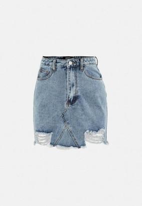 Missguided Blue Distressed Hem Denim Mini Skirt