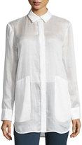 Lafayette 148 New York Carlise Patch-Pocket Blouse, White