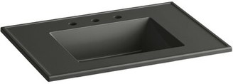 """Kohler Ceramic Impressions 31 In. Rectangular Vanity-Top Bathroom Sink with Faucet Holes Top Finish: Thunder Gray Impressions, Faucet Mount: 8"""" Widesp"""