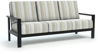 Breakwater Bay Shubert Trusted Fog Patio Sofa with Sunbrella Cushions Frame Color: Onyx