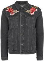 Topman Black Rose Embroidered Denim Jacket