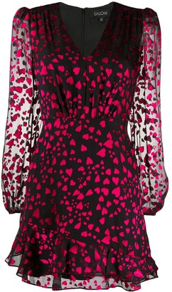 Saloni Heart Print Long-Sleeve Mini Dress