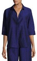 Armani Collezioni Crinkled Cotton-Silk Tunic, Purple