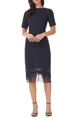 JS Collections Beaded Illusion Hem Sheath Dress