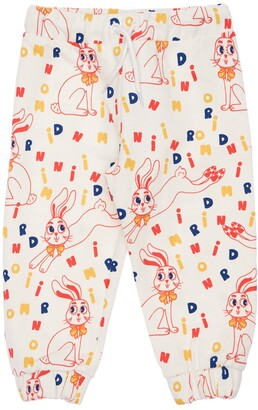 Mini Rodini Rabbit Print Organic Cotton Sweatpants