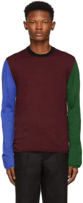 Comme des Garcons Burgundy Color Mix Crewneck Sweater