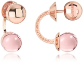 Rebecca Boulevard Stone Rose Gold Over Bronze Double Ball Drop Earrings w/Pink Hydrothermal Stone