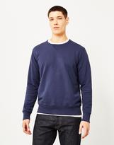 Hawksmill Garment Dyed Slub Crew Sweatshirt Navy