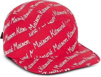 MAISON KITSUNÉ 5P Red Cotton Canvas Baseball Cap
