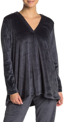 N Natori Velour V-Neck Shirt