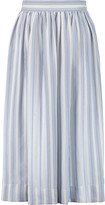 Temperley London Mitka striped pleated silk midi skirt