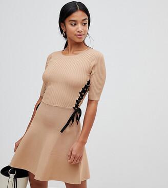 Asos DESIGN Petite skater dress in structured knit-Stone