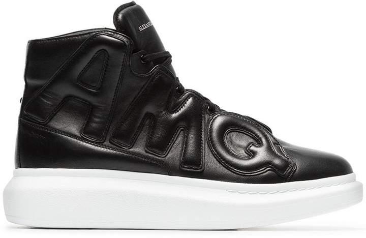 Alexander McQueen black High-Top Oversized leather sneakers