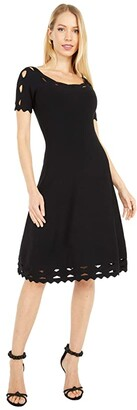 Milly Keyhole Twist Trim Flare Dress (Black) Women's Dress