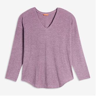 Joe Fresh Women+ V-Neck Rib Sweater, Pale Purple (Size 1X)