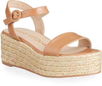 Stuart Weitzman Taborah Ankle-Strap Wedge Espadrille Sandals
