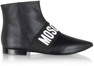 Moschino Black Signature Leather Flat Ankle Boots