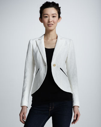 Smythe Lace Cutaway Blazer, White