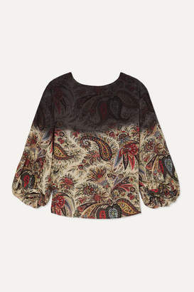 Etro Tie-dyed Paisley-print Silk-chiffon Blouse - Beige