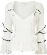 Derek Lam 10 Crosby ruffled knitted blouse - women - Cotton - XS