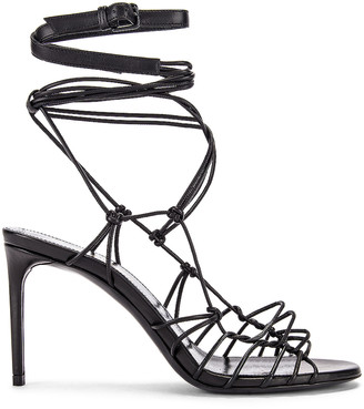Saint Laurent Robin Zig Zag Heels in Black | FWRD