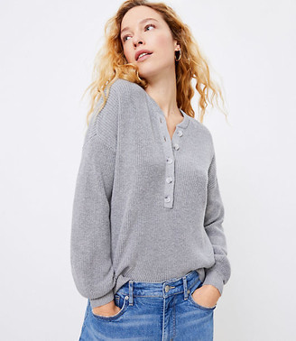 LOFT Ribbed Henley Sweater